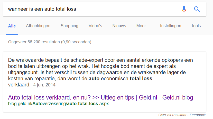 featured snippet total loss