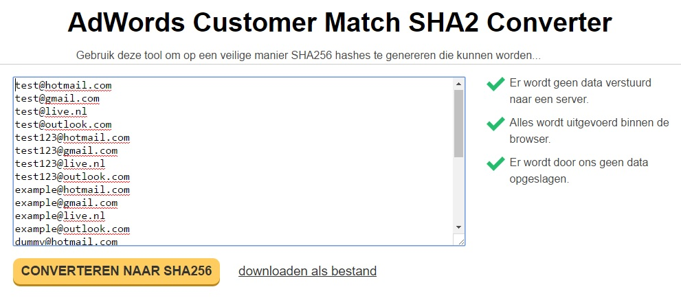 Search advertising tools - SHA2 converter