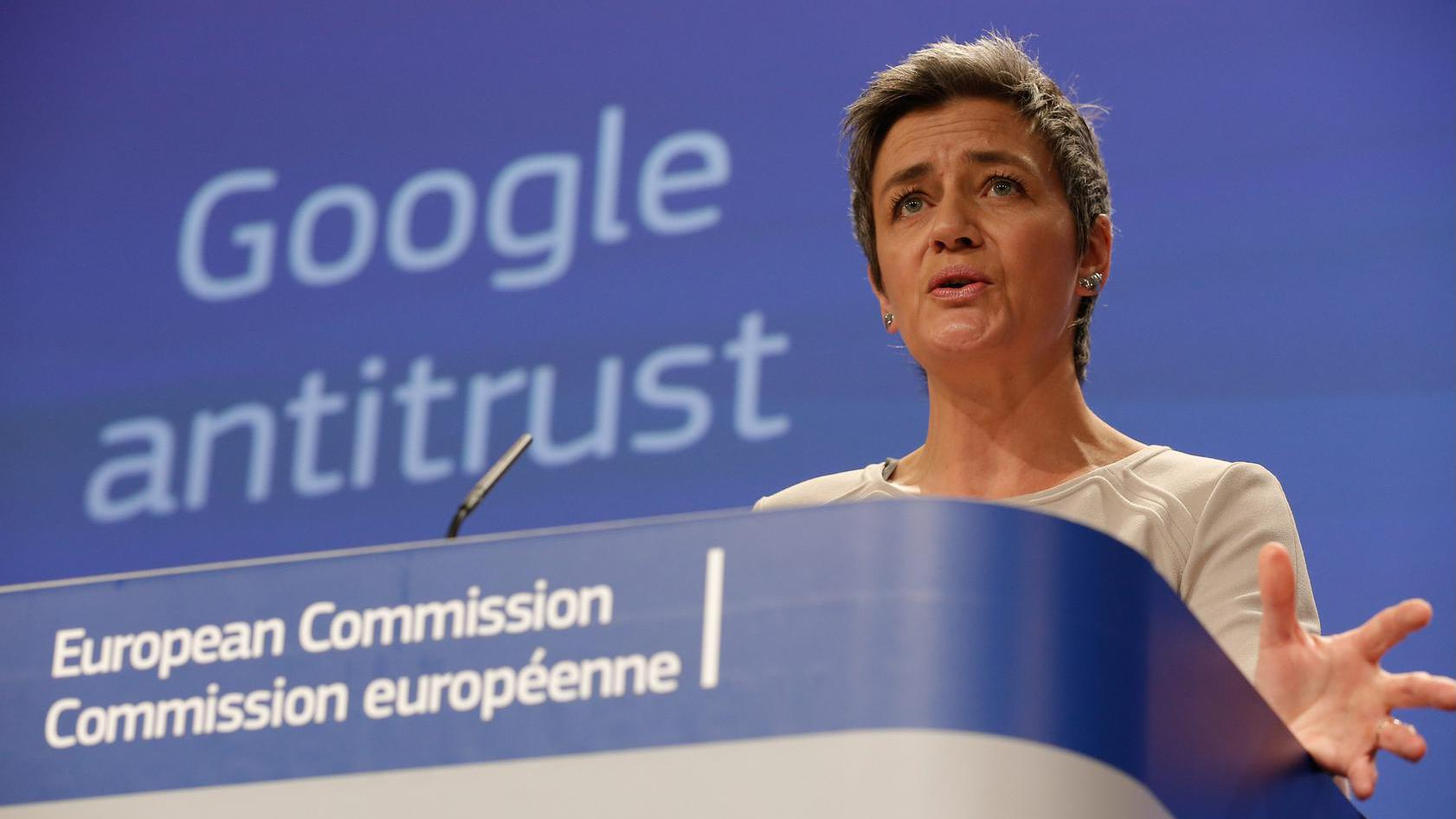 Denmark's EU Commissioner for Competition Margrethe Vestager gives a news conference after a college meeting at the European Commission Headquarters in Brussels,15 April 2015. The EU Commission sends Statement of Objections to Google on comparison shopping service and opens separate formal investigation on Android. EPA/JULIEN WARNAND