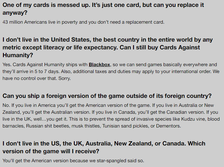 humor in content: FAQ Cards against humanity