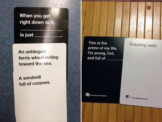 humor in content: cards against humanity