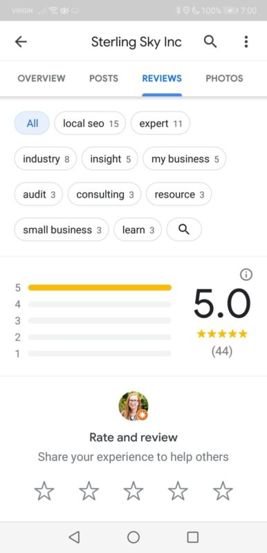 google place topics for reviews